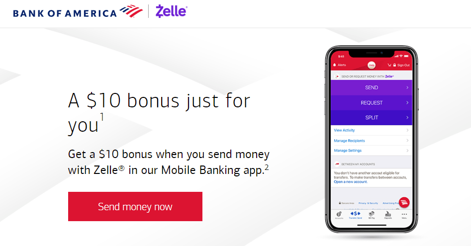 Bank of America, Get $10 for Sending Money with Zelle